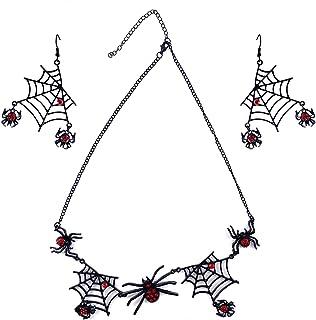 Jantabo Halloween Spider Ketting Oorbellen Sets, Halloween Spider Sieraden Set Spider Web Oorstekers Opknoping Hanger Hall...