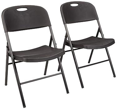 Amazon Basics Folding Plastic Chair, 350-Pound Capacity, Black, 2-Pack