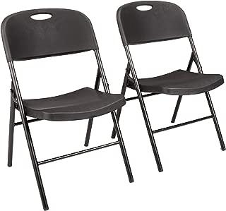 AmazonBasics Folding Plastic Chair, 350-Pound Capacity, Black, Set of 2