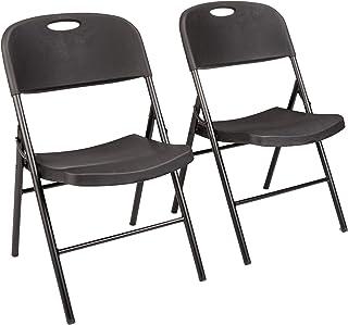 AmazonBasics Lot de 2 chaises en plastique pliantes, capacité de 157,5 kg, noir