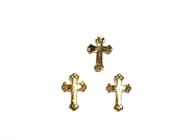 誓約ダイアクリティカルオープナー【jewel】メタルネイルパーツ クロス 5個入 ゴールドorシルバー 十字架型 スタッズ ジェルネイル デコ素材 (ゴールド)