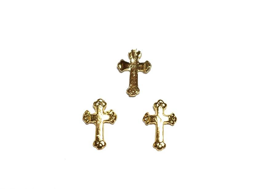 音登るレタッチ【jewel】メタルネイルパーツ クロス 5個入 ゴールドorシルバー 十字架型 スタッズ ジェルネイル デコ素材 (ゴールド)