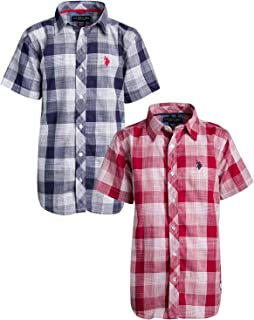U.S. Polo Assn. Boys Short Sleeve Woven Shirt (2 Pack)