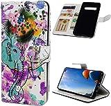 F�r Samsung Galaxy S10 H�lle Lader Tasche PU Lader H�lle Gemalt Muster Flip Brieftasche Kartenhalter Magnetschnalle St�nder Sto�fest Kratzfest Sto�stange Handyh�lle Blumen-Symbol