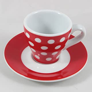 Bodum Red with White Polka Dots Espresso Cup & Saucer, 2 oz.