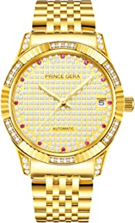 Prince Gera 18K Gold Plated Men's Watches Calendar Date Automatic Mechanical Luxury Analog Waterproof Wrist Watches
