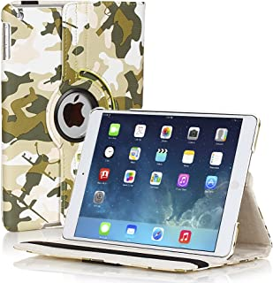 TNP Products 360 Degree Rotating Folio Stand Smart Protective Cover with Auto Sleep Wake Function and Stylus Holder for iPad 2 / 3 / 4th Generation with Retina Display - Camouflage Army Green