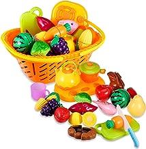 Tosbess 23Pcs Anni Set Frutta di plastica Verdure giocattolo con un Cesto di Stoccaggio Incluso di taglio Giocattolo prima educazione per Bambini 3