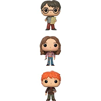 Hermione w//Time Turner Funko Pop Series 4-Harry Potter w//Marauders Map Ron Weasley with Scabbers Collectible Set Flat River Group 219