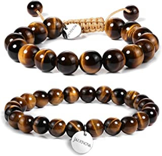 JADENOVA Natural Bead Bracelet Semi Precious Gemstone Beaded Bracelet for Women Healing Crystal Stone Stretch Bracelet Men Couple Bracelets (2pcs,6-8mm/8-10mm)
