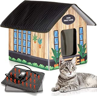 Outdoor Cat House Feral Cat Shelter (Heated) - EASY to assemble - Cat Houses for Outdoor Cats