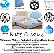 Rite Clique Waterproof Mattress Protector Sheet with Elastic Straps for Double Bed, Blue, King Size, 72x78 Inch