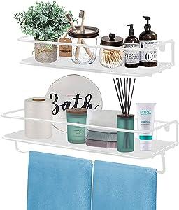QEEIG White Bathroom Shelf Floating Shelves for Wall Mounted Shelf Over Toilet with Towel Bar Kitchen Shelve Small Hanging Shelving Set of 2 Shelfs (FS626-WW)