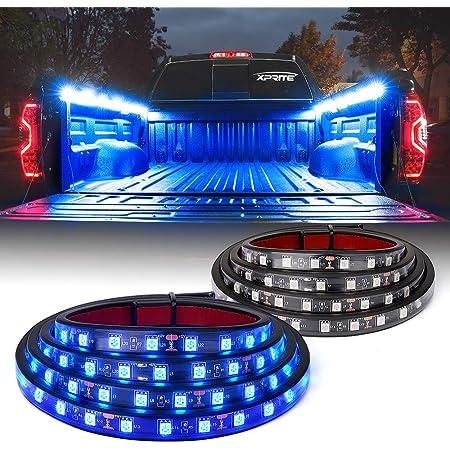 "Xprite 60"" Inch Blue LED Truck Bed Lights Strip Kit, Decoration Lighting Bar for Cargo Pickup Trucks Van SUV RV Boat, On|Off Switch - 2PCS"