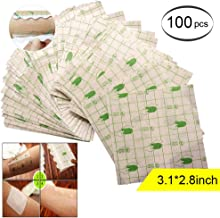 Ewinodon Transparent Stretch Adhesive Bandage Waterproof Bandage Roll Transparent Film Dressing Second Skin Healing Protective Clear Adhesive Bandages Tattoo Supplies Products (2.8 * 3.1inch)