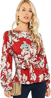 Romwe Women's Floral Print Long Sleeve Self tie Waist Knot Blouse Top
