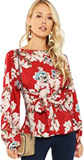 Romwe Women's Floral Print Long Sleeve Self tie Waist Knot Blouse Top