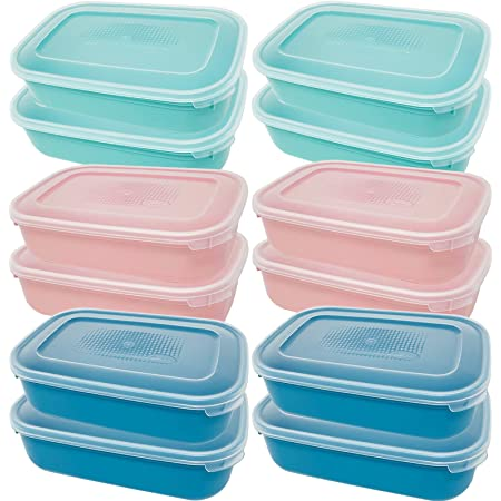 Codil Lot de tuppers rectangulaires réutilisables en plastique pour aliments sans BPA, récipients avec couvercle, adaptés pour micro-ondes, lave-vaisselle et congélateur (vert et bleu, 12 x 0,8 L)
