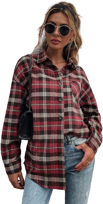 QANSI Women's Long Sleeve Collar Long Button Down Plaid Shirt Blouse Tops S-XL