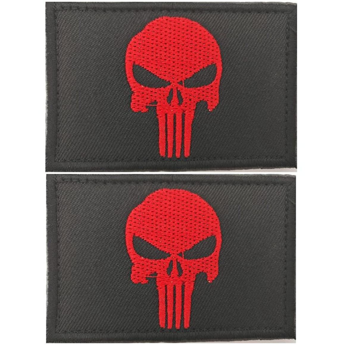 Bundle 2 pieces - Punisher Skull with Velcro backing Decorative Embroidered Badge appliques (Color 3)