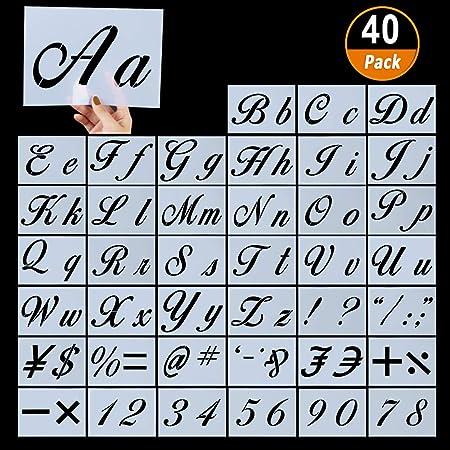 40 Pochoirs à Lettre avec Chiffres et Signes Letter Stencils Alphabet Lettres Calligraphiques Majuscules et Minuscules Chiffres et Caractères Pochoirs en Plastique Réutilisables pour Enfant, 21x15cm