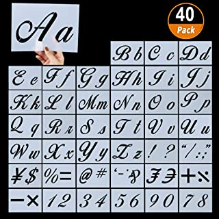 40ピース 文字ステンシル 木製 再利用可能 プラスチック アルファベットステンシル カリグラフィーフォントの大文字と小文字の文字 数字と記号 8.25インチ x 5.9インチ