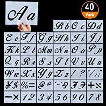 40 Pieces Letter Stencils for Painting on Wood, Reusable Plastic Alphabet Stencils with Calligraphy Font Upper and Lowercase Letters, Numbers and Signs, 8.27