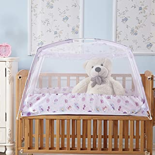 """RuiHome Baby Crib Tent Safety Net Portable Summer Beach Playpen for Toddler (26x43x26"""", Purple)"""