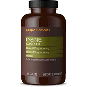 Amazon Elements Lysine Complex with Vitamin C, 1500 mg L-Lysine with 100 mg Vitamin C per Serving (3 Tablets), Supports Immune Health, Vegetarian, 195 Tablets (Packaging may vary)