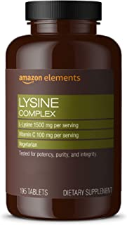 Amazon Elements Lysine Complex with Vitamin C, 1500 mg L-Lysine with 100 mg Vitamin C per Serving (3 Tablets), Supports Im...