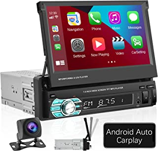 $125 » Single Din Car Stereo with Apple Carplay Android Auto 7 Inch Retractable Touchscreen Car Radio Bluetooth FM Receiver Mirro...