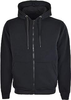 Mudder Gents Zip up Hoody Plain Black Mens Small - 8XL Cotton Urban Hooded Jacket Big Sizes