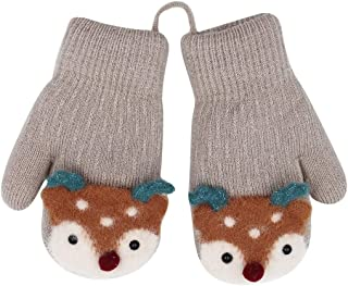 Unisex Thick Plush lined Gloves with String Squeeze Sound Christmas Elk Pattern for Toddler Kids Winter Knit Mittens(0 to 4Y)