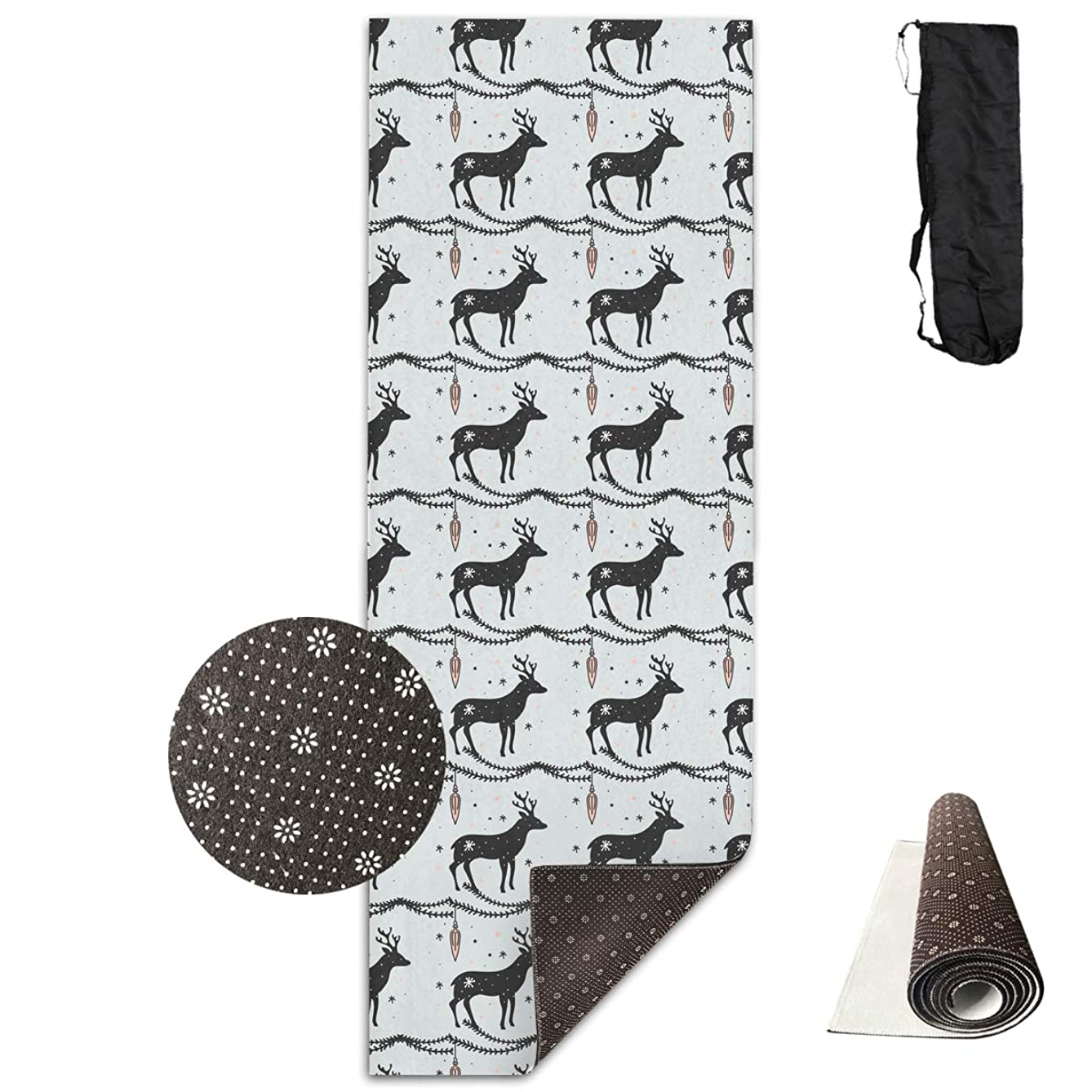 Unisex Fitness Yoga Mat Deer Christmas Pattern Unique Non-Slip Pattern Towels,Pilates Sports Paddle Board Yoga Exercise 24 X 71 Inches Durable Yoga Mats,All-Purpose
