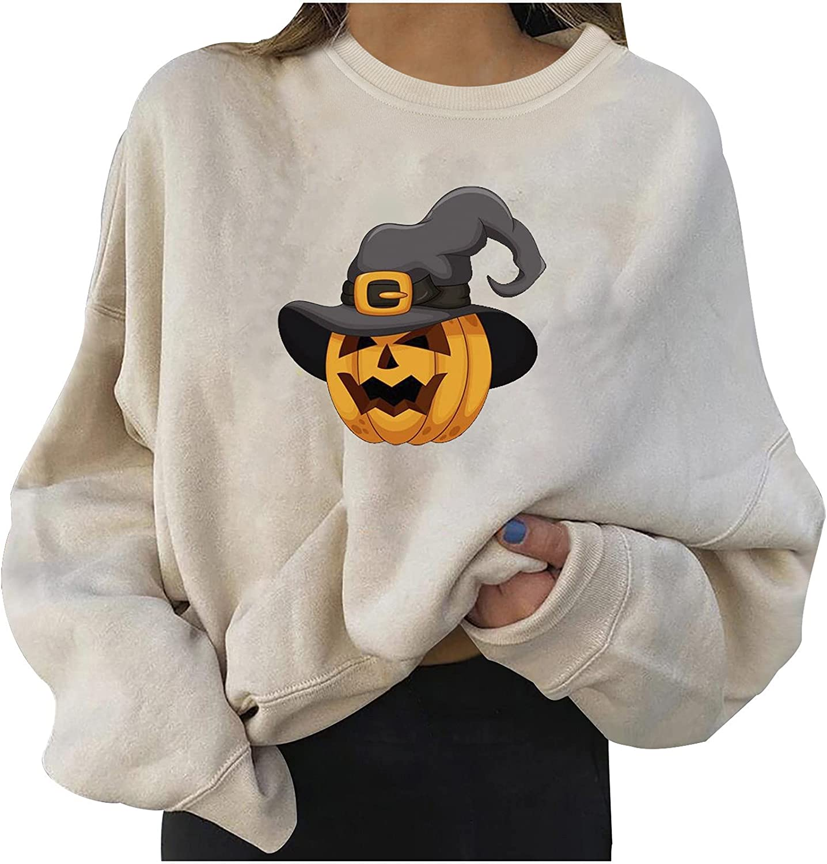 Halloween Women's Casual Long Sleeve Sweatshirt Printed Loose Comfy Hoodies Winter Plus Size Tops Pullover