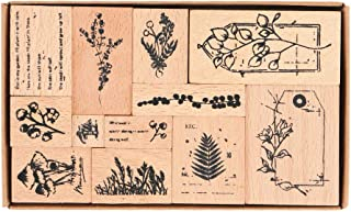 Wooden Rubber Stamps, NogaMoga 12pcs Plant Patterns Rubber Stamp with 11 Sizes, Decor Stamps for Card, DIY, Paper Craft, B...