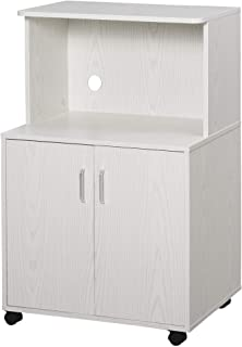 Chariot desserte micro-ondes placard 2 portes - dim. 60,4L x 40,3l x 97H cm - blanc