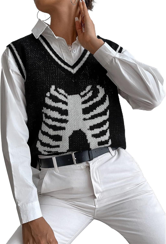 MAINESAKA Women Loose Chest Skeleton Knitted Vest Sleeveless V Neck Pullover Tank Tops Knitwears