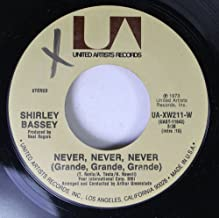 SHIRLEY BASSEY 45 RPM Never, Never, Never (Grande, Grande, Grande) / Day By Day