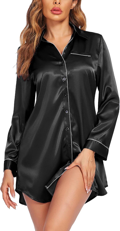 VOOMALL Nightgown Women's Satin Sleepwear Button Down Nightshirt Silk Sleep Shirt Long Sleeve Nightwear