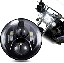 TRUCKMALL 7 inch LED Headlight DOT Kit Light Headlamp for Harley Davidson Touring Ultra Classic Electra Street Glide FatBoy Heritage Softail Slim Deluxe Switchback Road King Yamaha Motorcycle Black