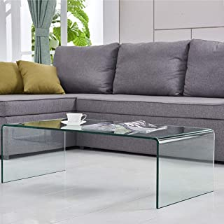 FENGHUA GLASS HOME Coffee Table Thick Tempered Glass Living Room Table Accent Furniture with 15 Year Warranty Bent Table(Clear)