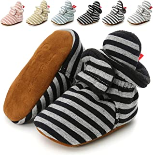 Newborn Baby Boys Girls Cozy Fleece Booties with Grippers Stay On Slipper Socks Infant Toddler Crib Winter Shoes for Boys Girls