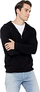 Men's Full Zip Up Hoodie 100% Pure Cashmere Long Sleeve Fashion Sweatshirt with Pockets