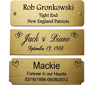 "Size: 3"" W x 1"" H, Personalized, Custom Engraved, Colored, Solid Brass Plate Picture Frame Name Label Art Tag for Frames, with Adhesive Backing or Screws - Indoor use only"