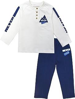 KISBINI Boy's Cotton Casual Shirt and Elastic Sport Panties Suits 2-Pc Sets