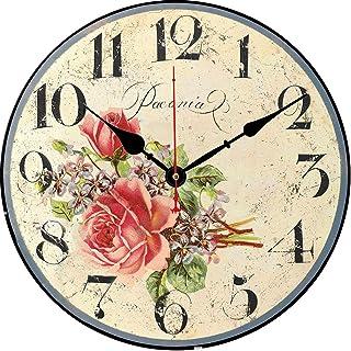 BERYART Reloj de pared de madera de 14 pulgadas silencioso diseño de flores redondo funciona con pilas reloj vintage p...