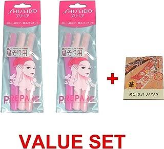 FT Shiseido Eyebrow Razor 3pcs x 2 Pack set (total 6 pcs) with Premium Oil Blotting Paper Value Set