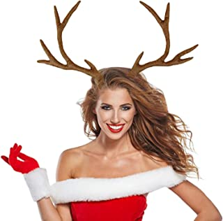 M&G House Reindeer Antlers Headband Christmas and Easter Party Short Plush Headbands