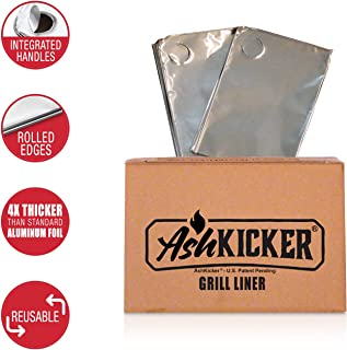 AshKicker Reusable Grill Liner | Charcoal & Wood Grill Cleaning Accessory | 4X Stronger Than Household Foil | 2 Count